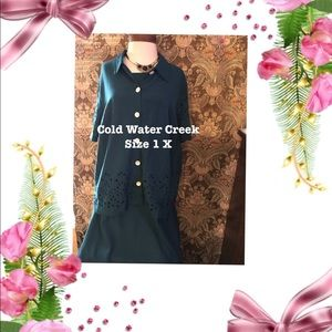 Cold water Creek green sleeveless dress w jacket